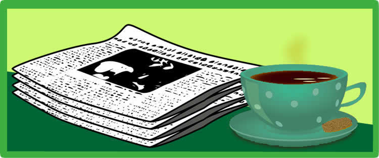 Image of a stack of newspapers with coffee in a teal cup